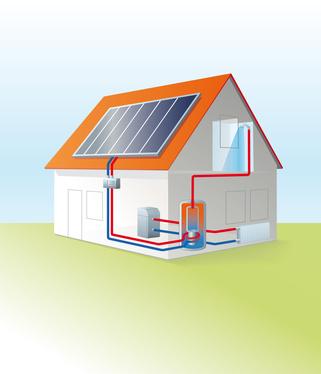 Bild1: Prinzip einer Solarthermieanlage