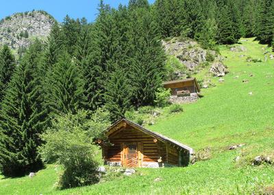 Bild 1: Idyllisches Blockhüttchen in den Bergen