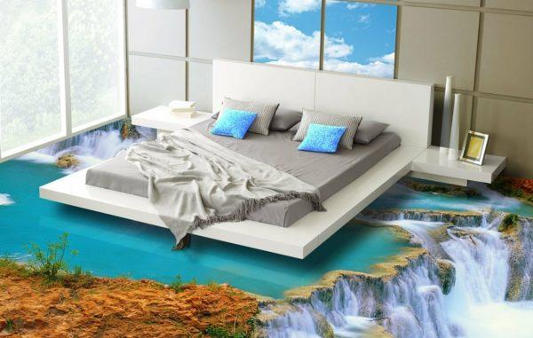 3D Fußboden aus Epoxidharz mit Wasserfall-Motiv im Schlafzimmer